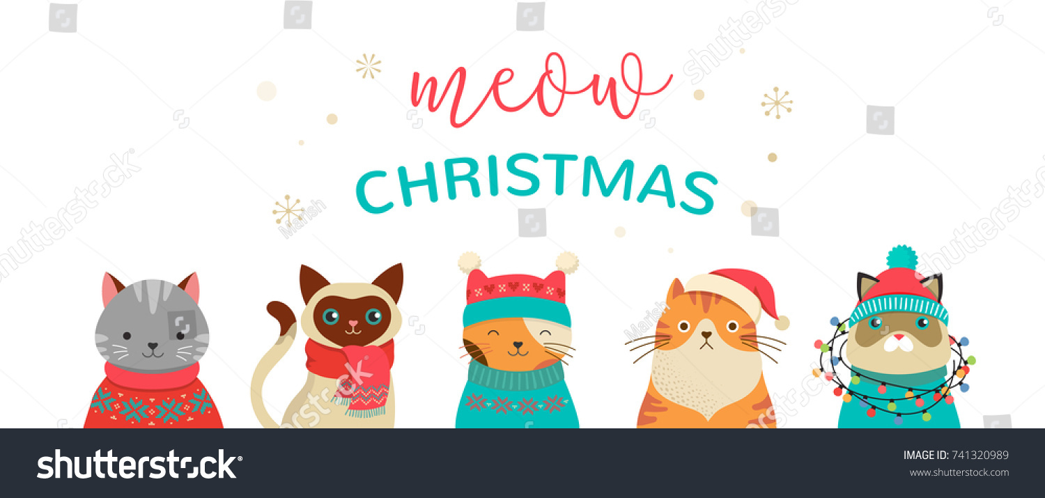 collection of christmas cats merry christmas illustrations of cute cats with accessories like a knited - Merry Christmas Cat