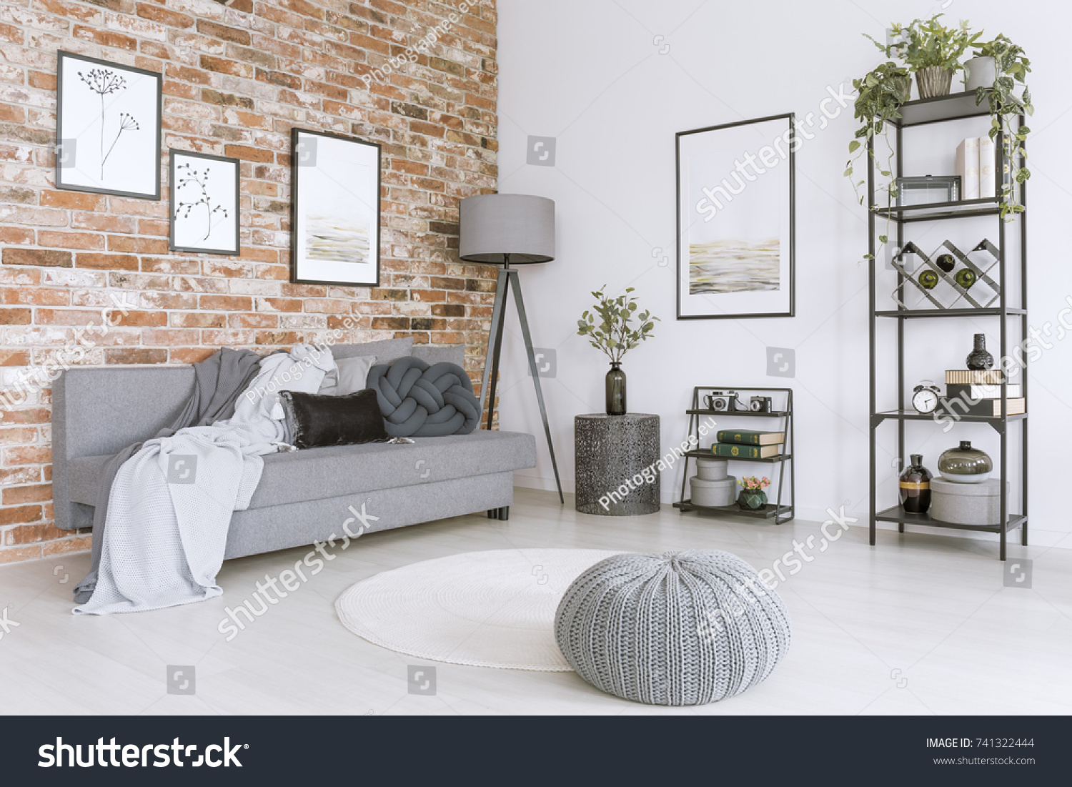 White Gray Living Room Knit Pouf Stock Photo (Royalty Free ...