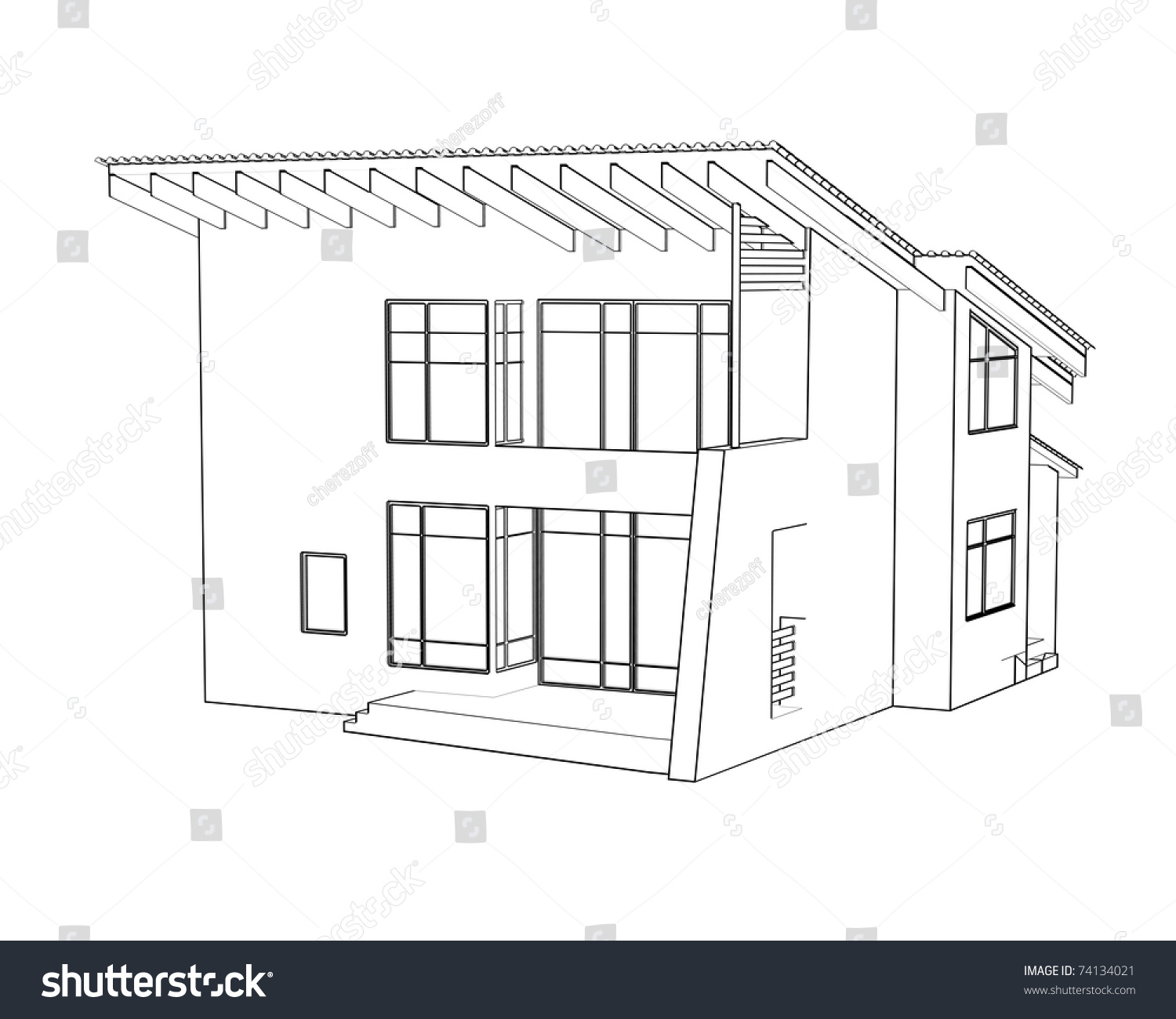 Exterior Architectural Drawings Modern House