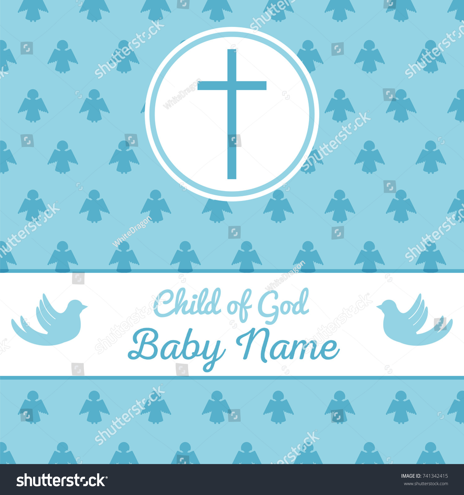 Baptism Invitation Card Template Stock Vector Stock Vector (Royalty Free)  741342415