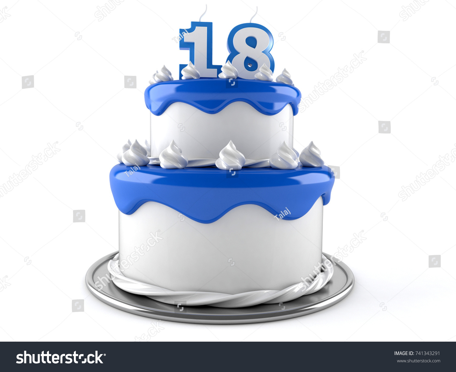 Birthday Cake With 18 Number Candles Isolated On White Background 3d Illustration