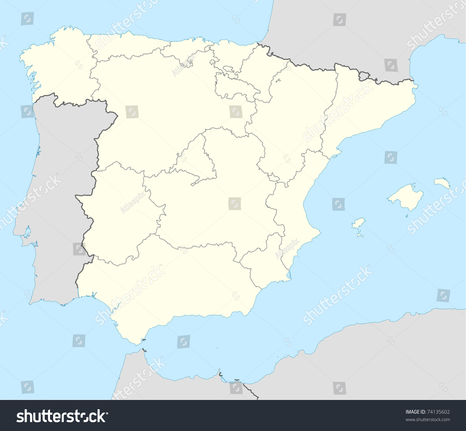 Country Of Spain Map.Illustrated Map Country Spain Showing State Stock Illustration
