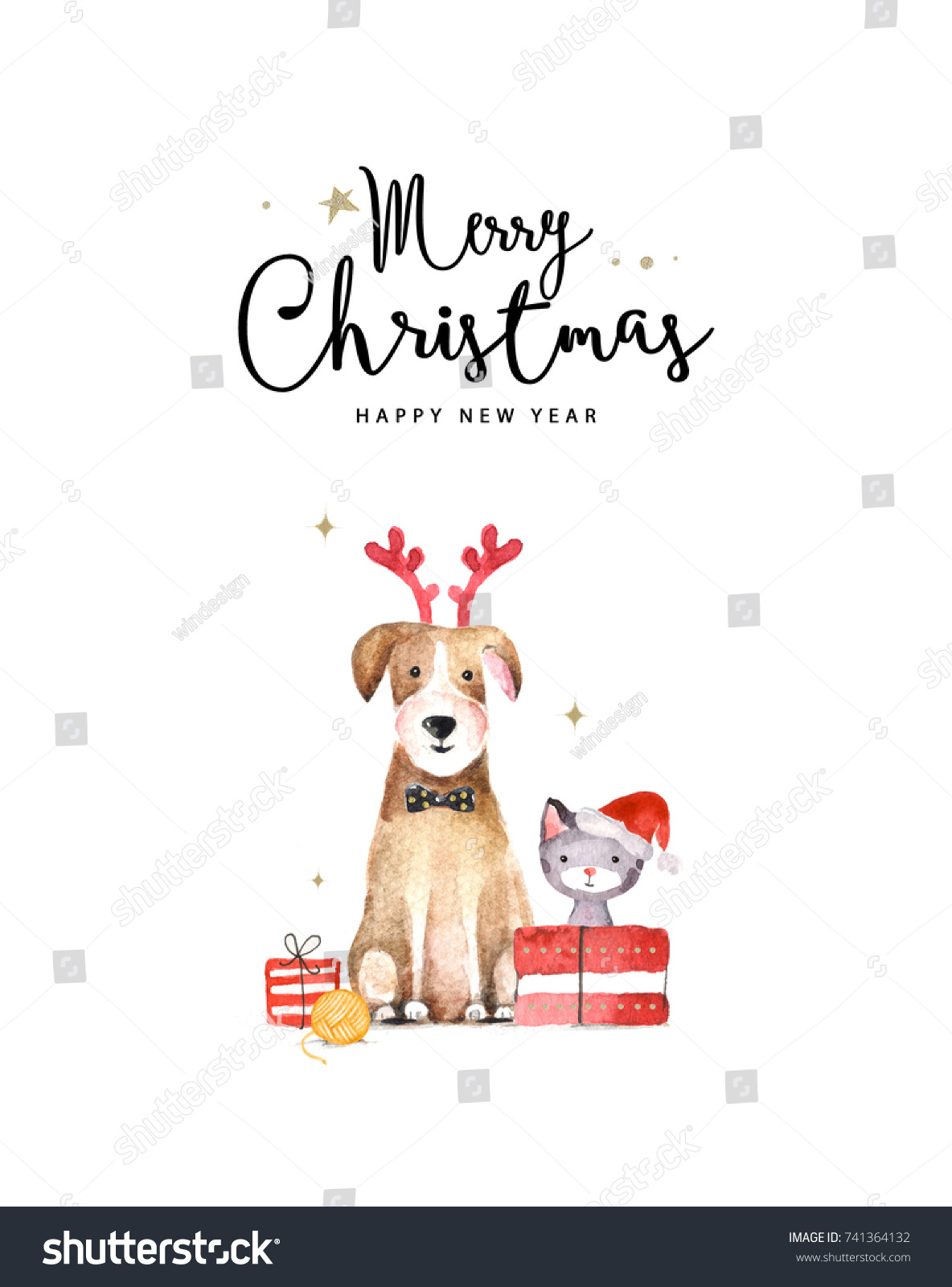merry christmas and happy new year card watercolor illustration of dog and cat