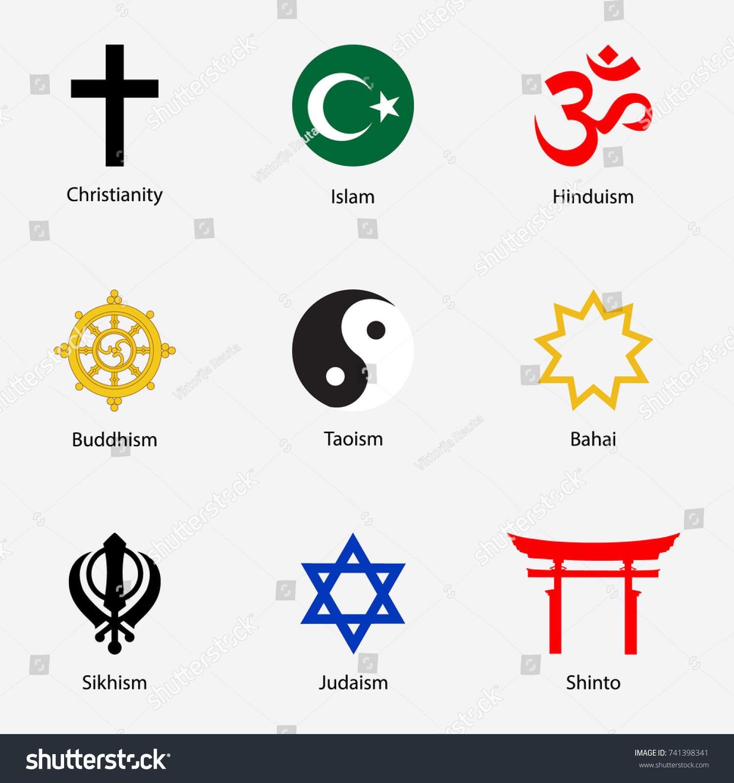 Vector Illustration Set Religious Symbols Names Stock Vector