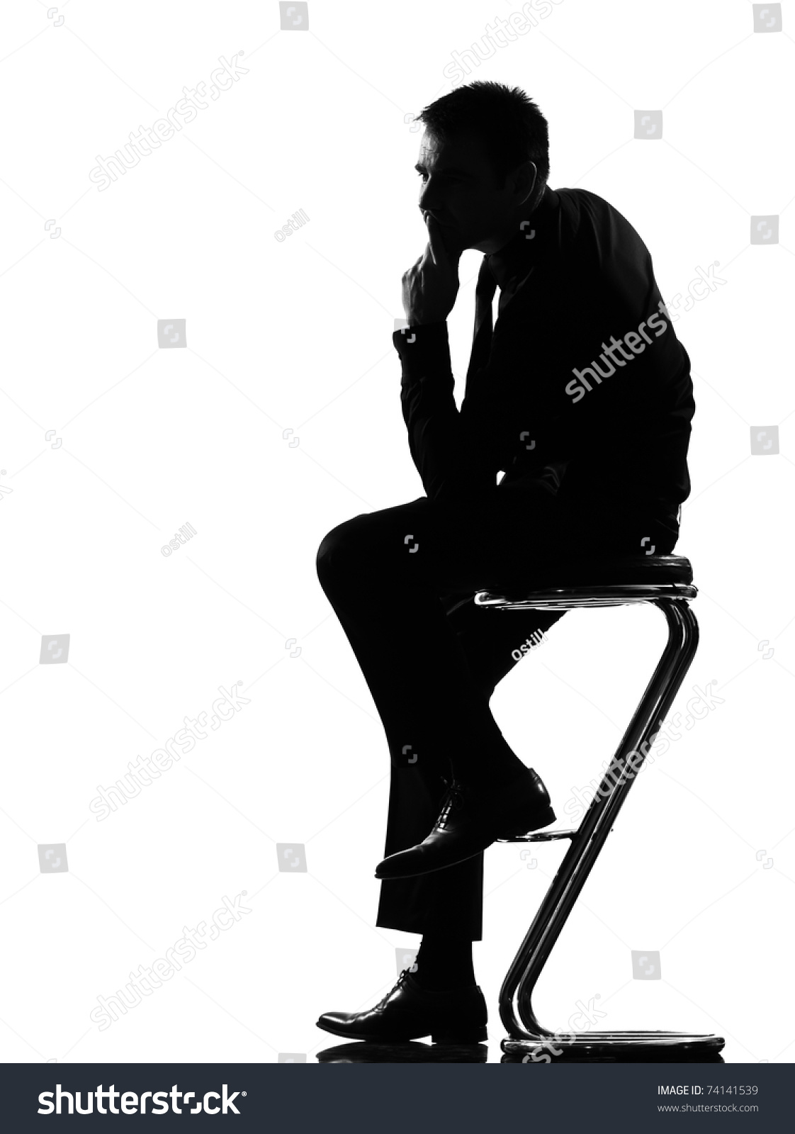 Silhouette Caucasian Business Man Thinking Pensive Stock Photo ... for Person Thinking Silhouette  70ref