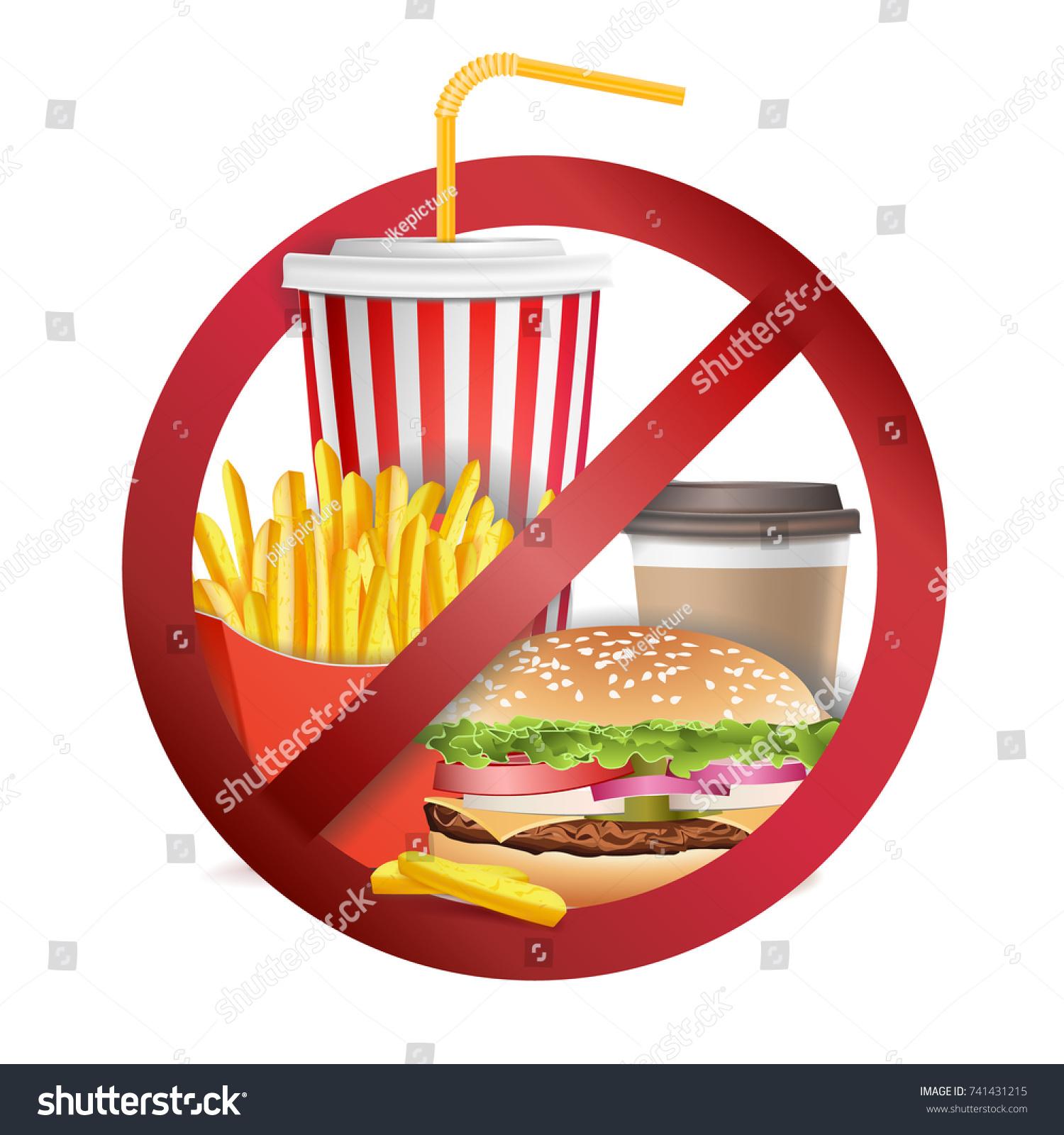 Fast Food Danger Vector No Food Stock Vector Royalty Free