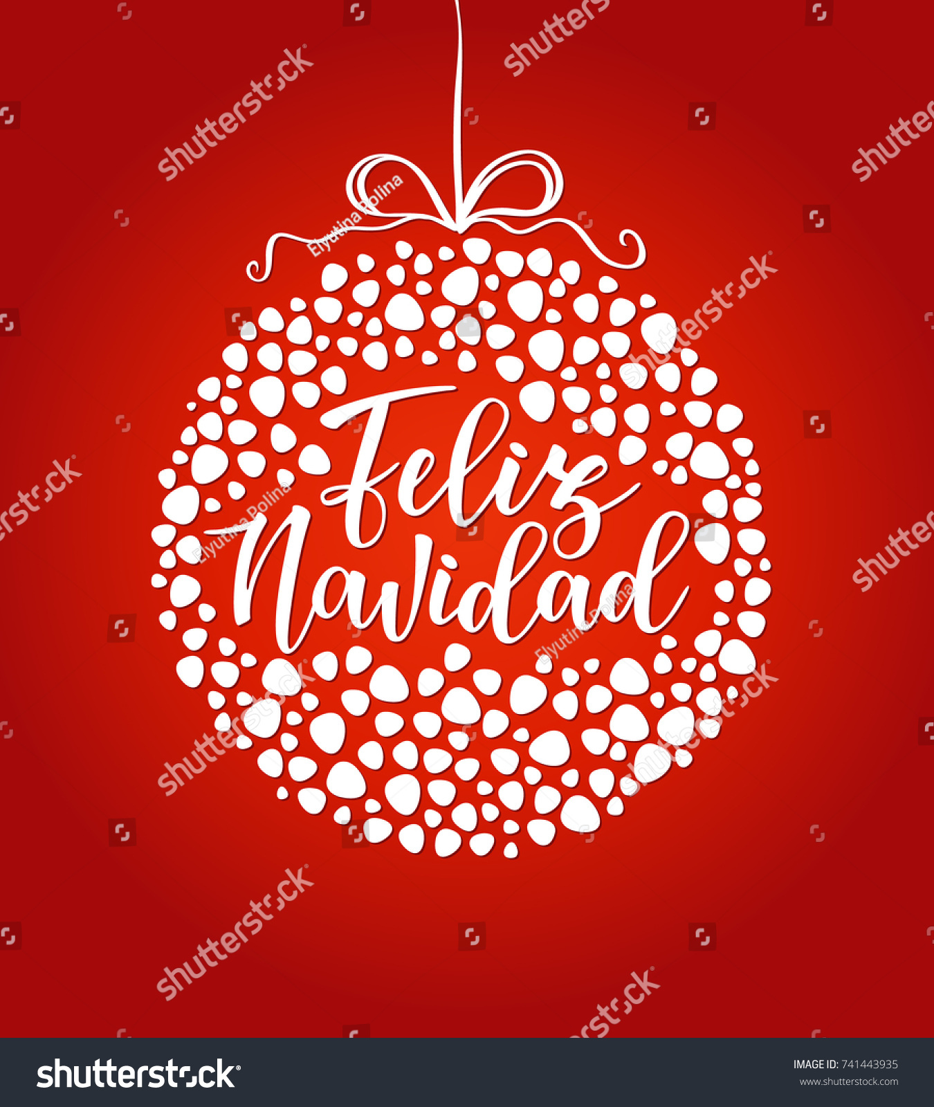 feliz navidad spanish typography lettering red background holiday greetings spanish quote isolated