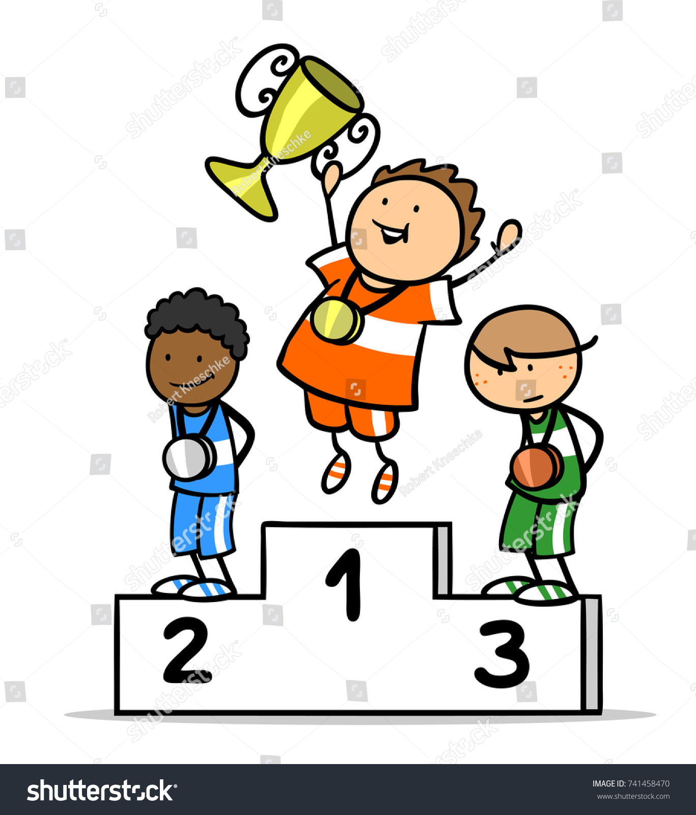 Three Cartoon Children On Winners Podium With Sports Trophy