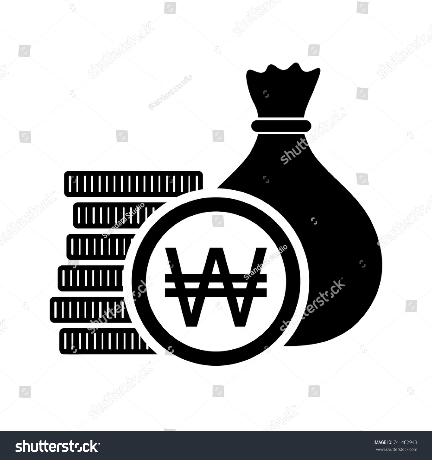 South korean won money bag coins stock vector 741462940 shutterstock south korean won money bag with coins and krw currency symbol vector illustration buycottarizona