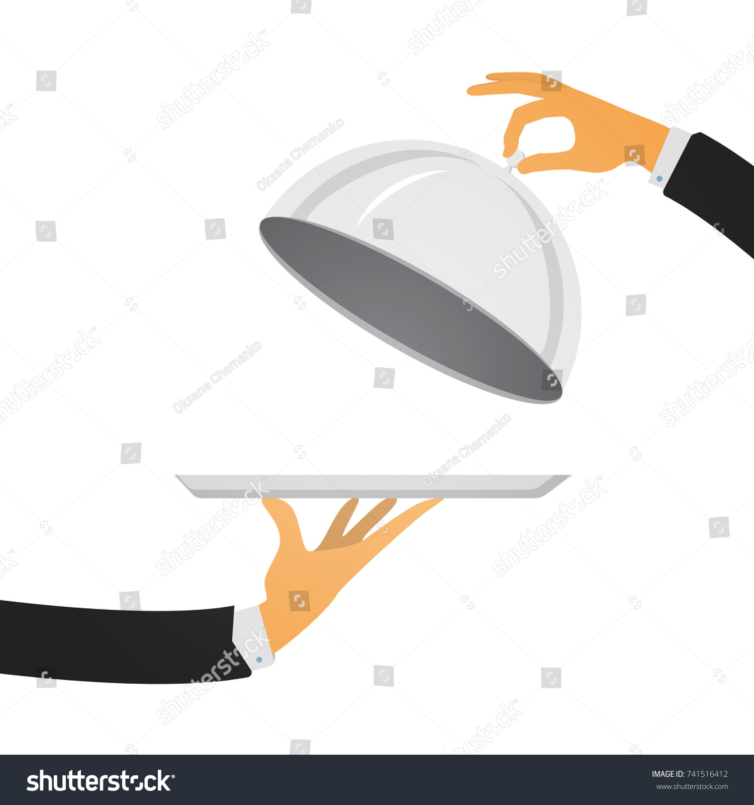 Silver cloche in hand. Restaurant plate in elegant waiter hand. Food serving tray. Vector illustration in modern flat style.