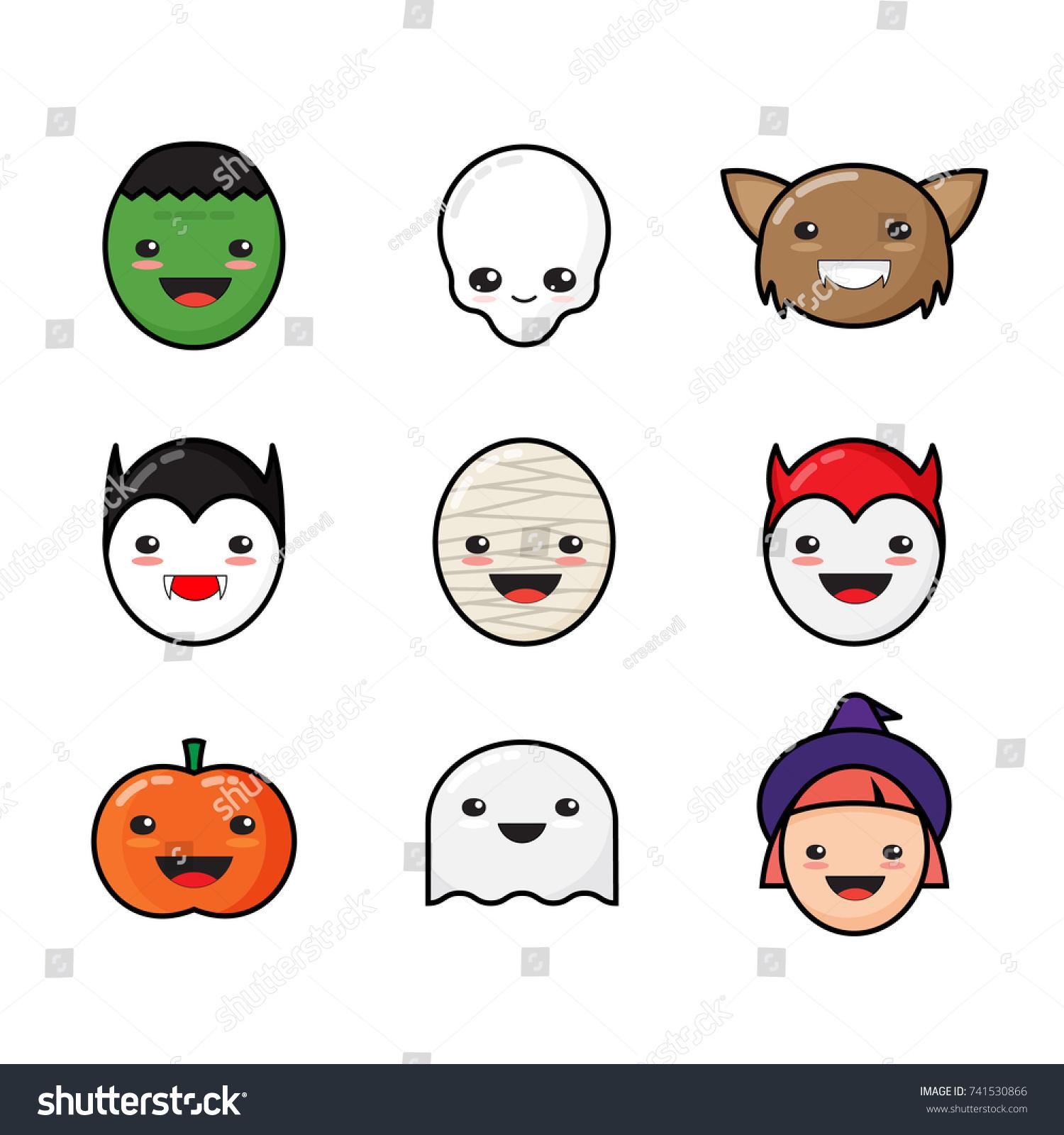Cute Kawaii Halloween Icons Set Funny Stock Illustration 741530866 ...