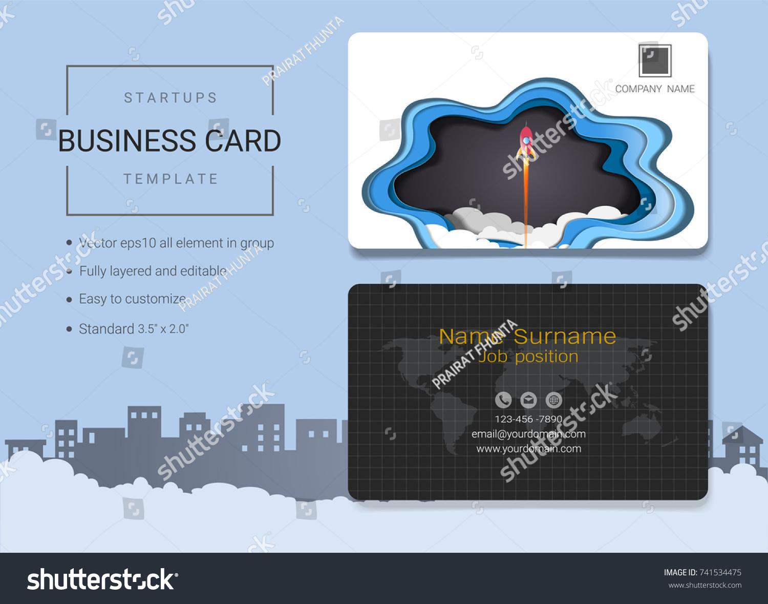 Startup Business Card Name Card Template Stock Vector 741534475 ...