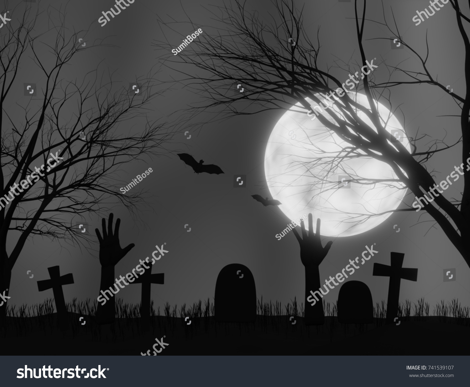 halloween cemetery gloomy night with creepy hands coming out 3d