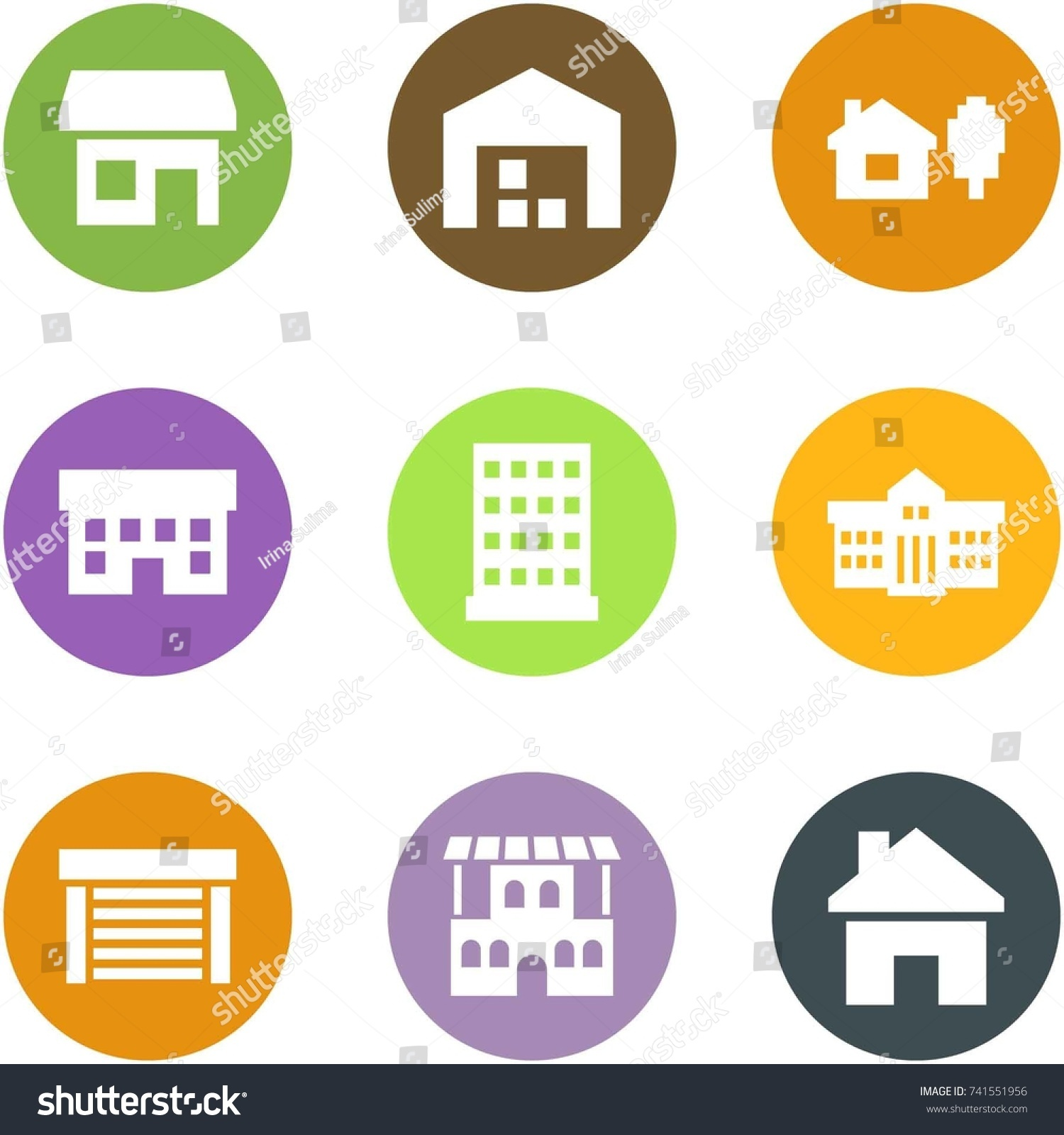 Origami Corner Style Icon Set Store Stock Vector (Royalty
