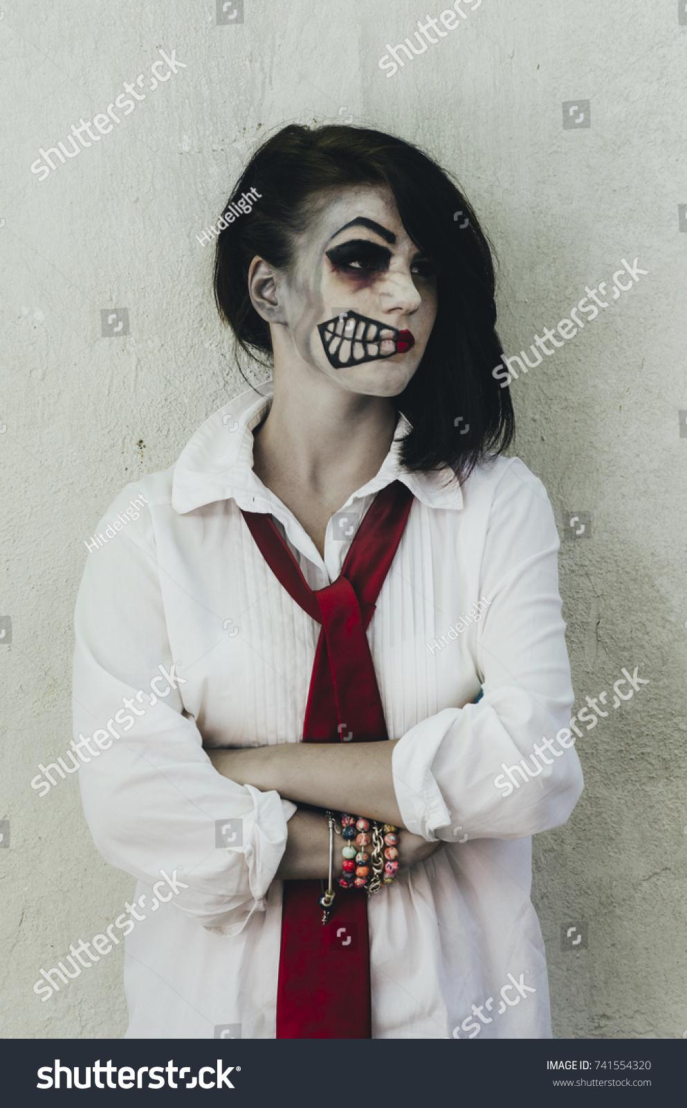 scary woman halloween makeup mask on stock photo (edit now