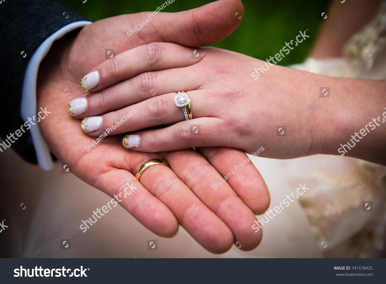 Bride Groom Holding Hands Both Wedding Stock Photo (Royalty Free ...
