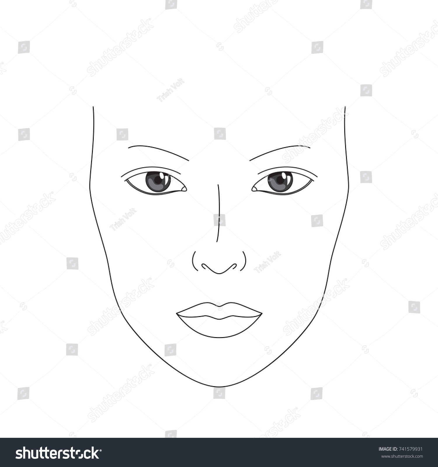 Vector Drawing Lines Quiz : Make chart face realistic female stock vector