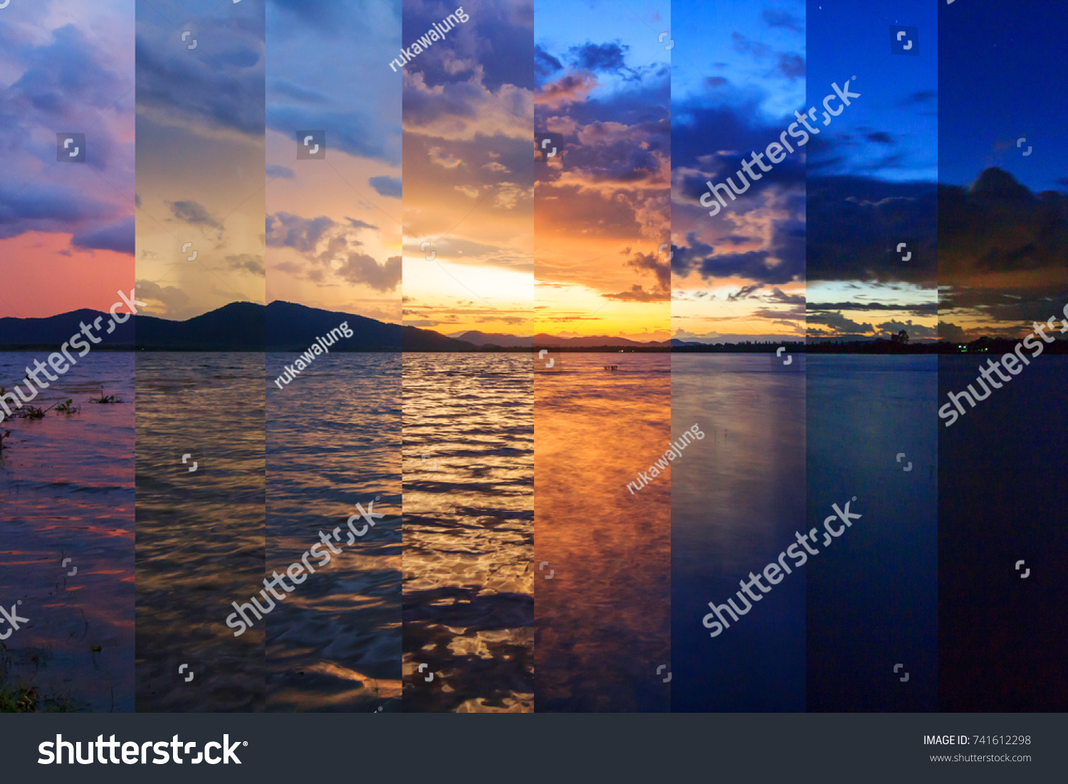 Different Shade Color Lake View Sunset Stock Photo & Image (Royalty ...
