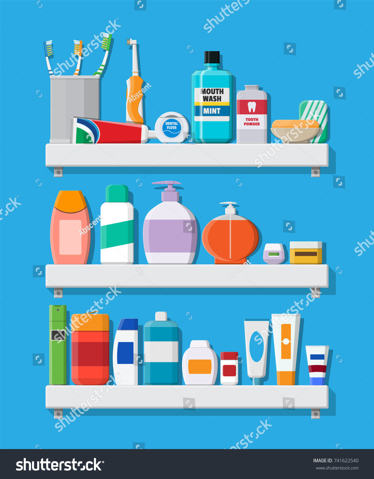 Bathroom Dental Cleaning Tools Products Beauty Stock Vector (2018 ...