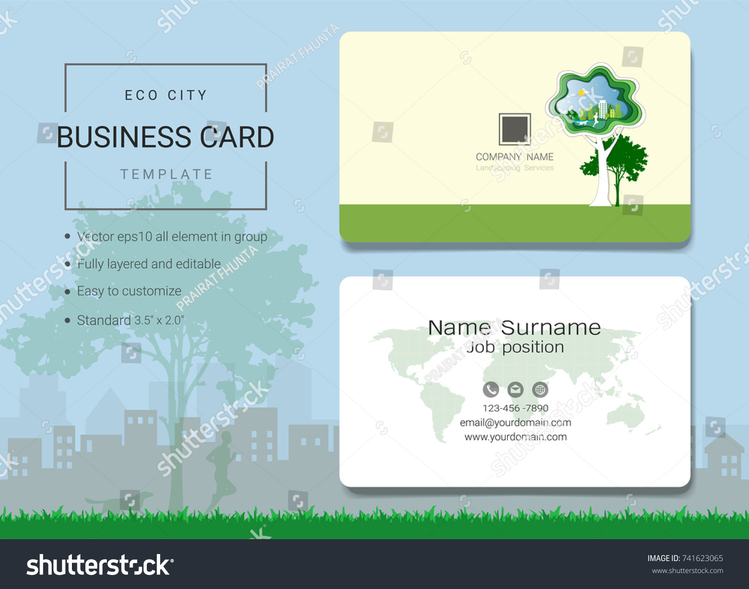 Eco City Business Card Name Card Stock Vector 741623065 - Shutterstock