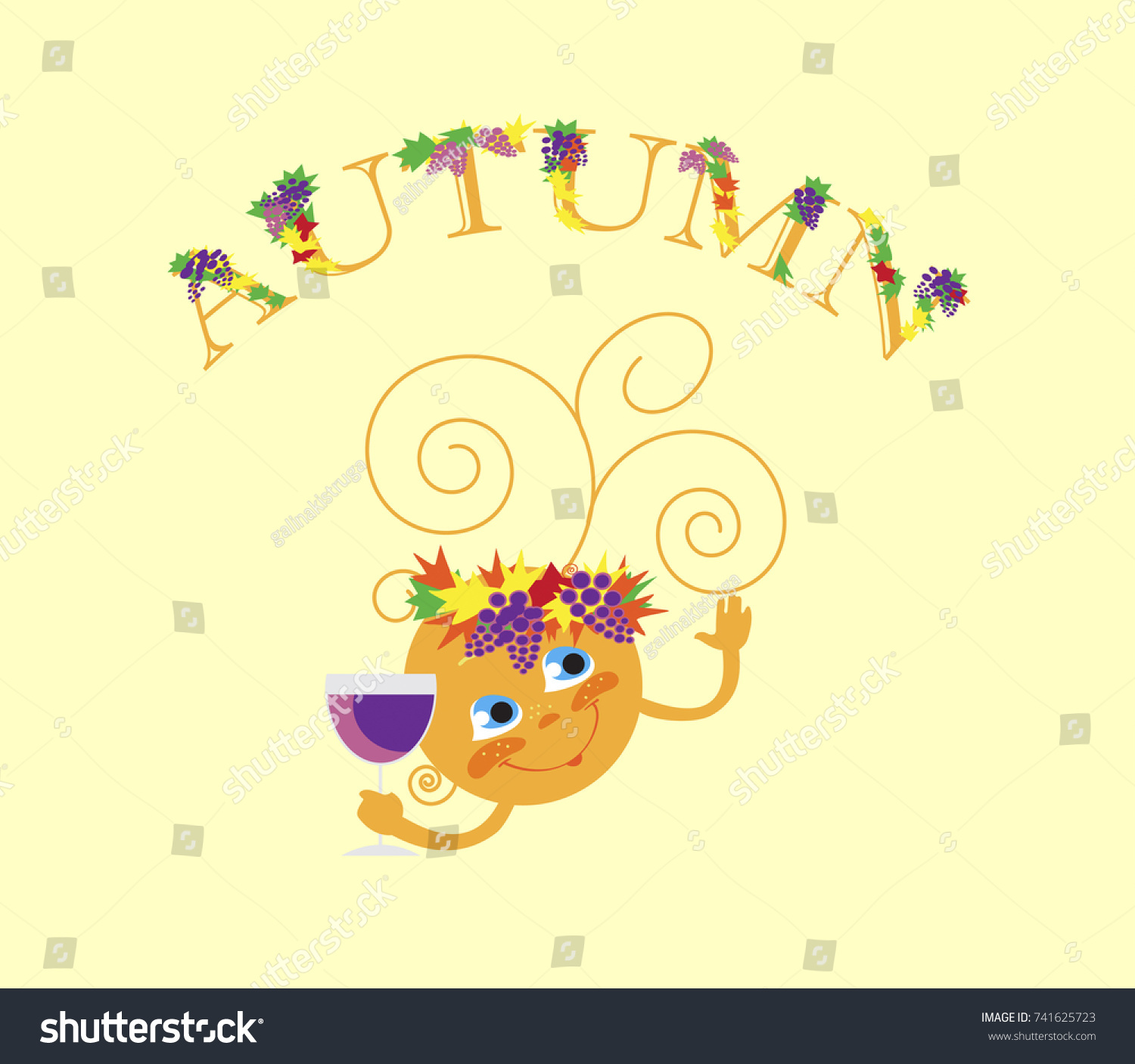 Animated Sun Glass Text Leaves Grapes Stock Vector 741625723 ... for Grapes Animated  66pct