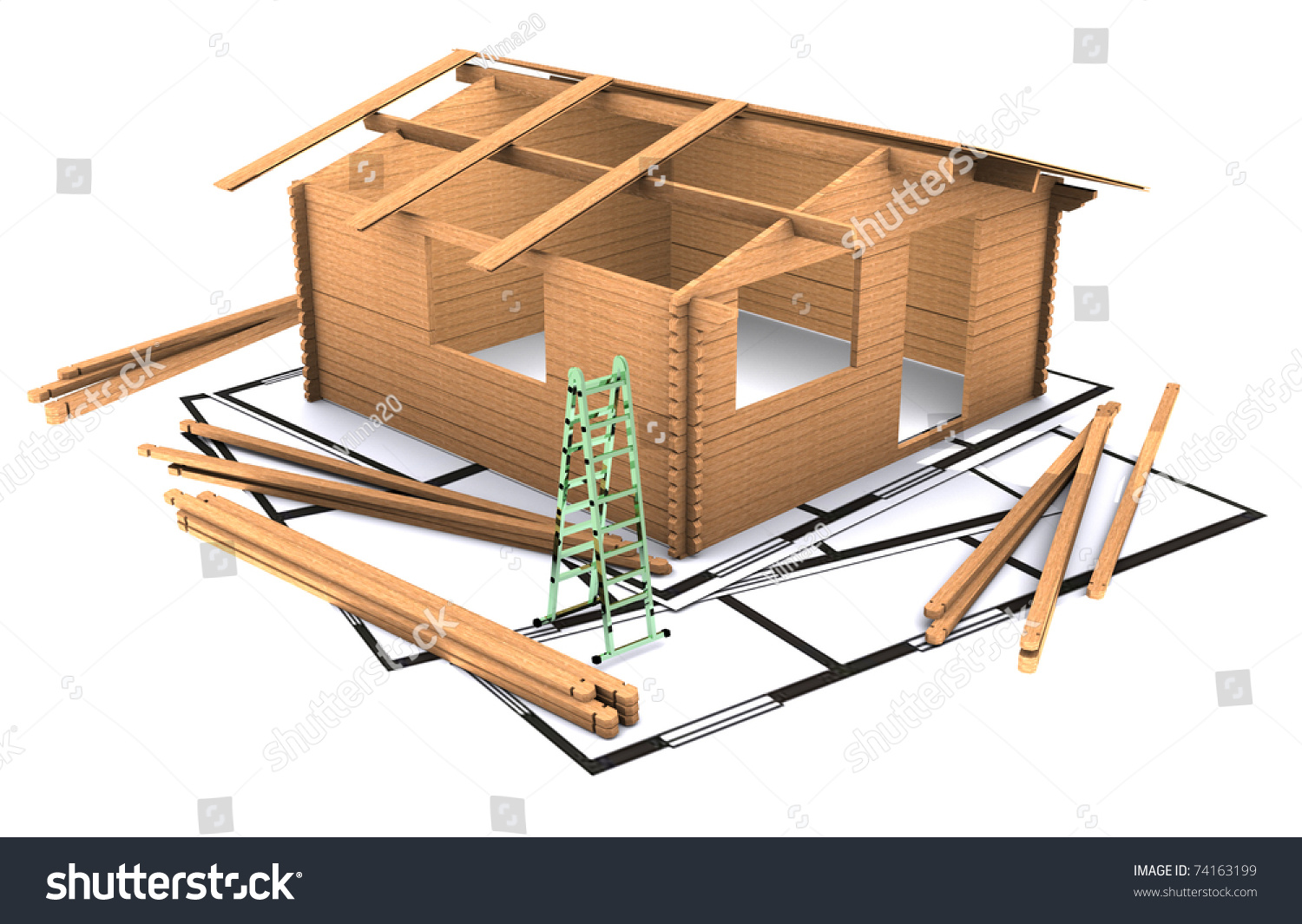 Three Dimensional Wooden Timber House Plan Standing On Two