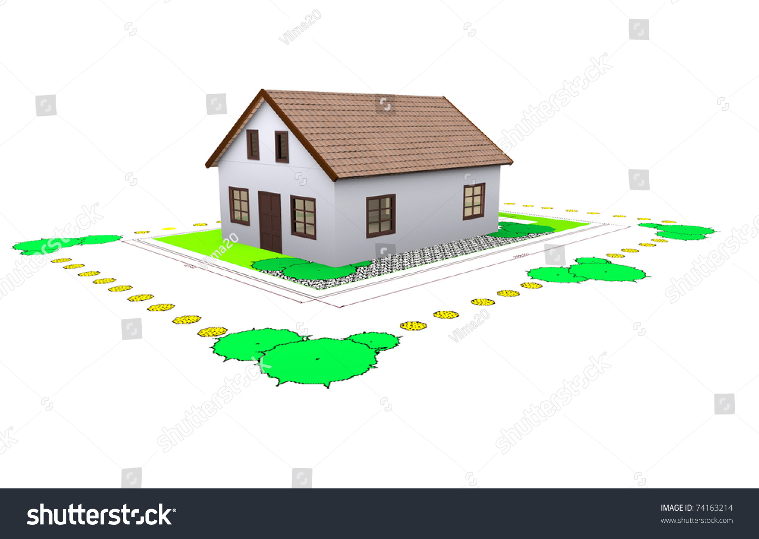 Three dimensional house plan standing on stock for Three dimensional house plans