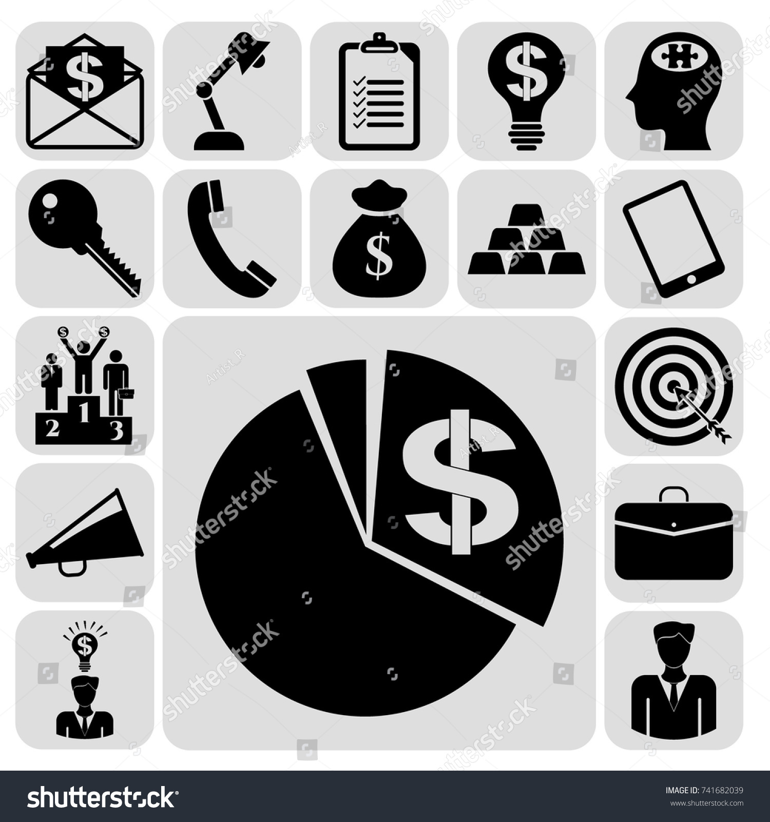 Set 17 Business Symbols Icons Collection Stock Vector Royalty Free