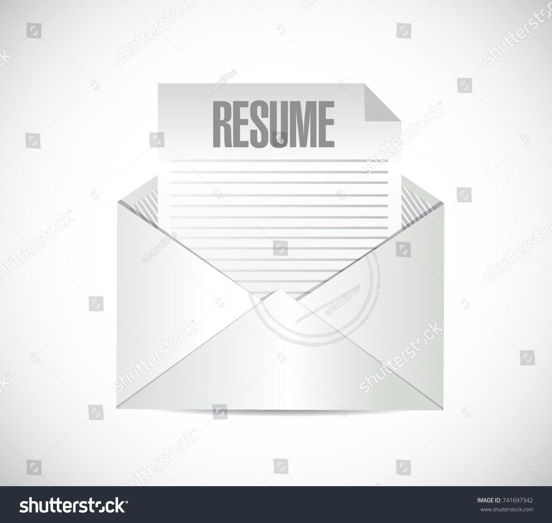 resume envelope cv inside white over stock vector 741697342