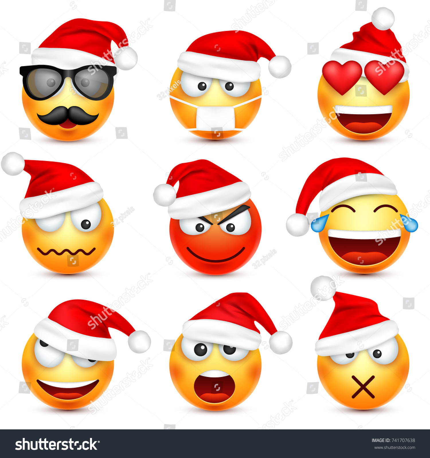 smileyemoticon set yellow face with emotions and christmas hat new year - Christmas Smiley Faces
