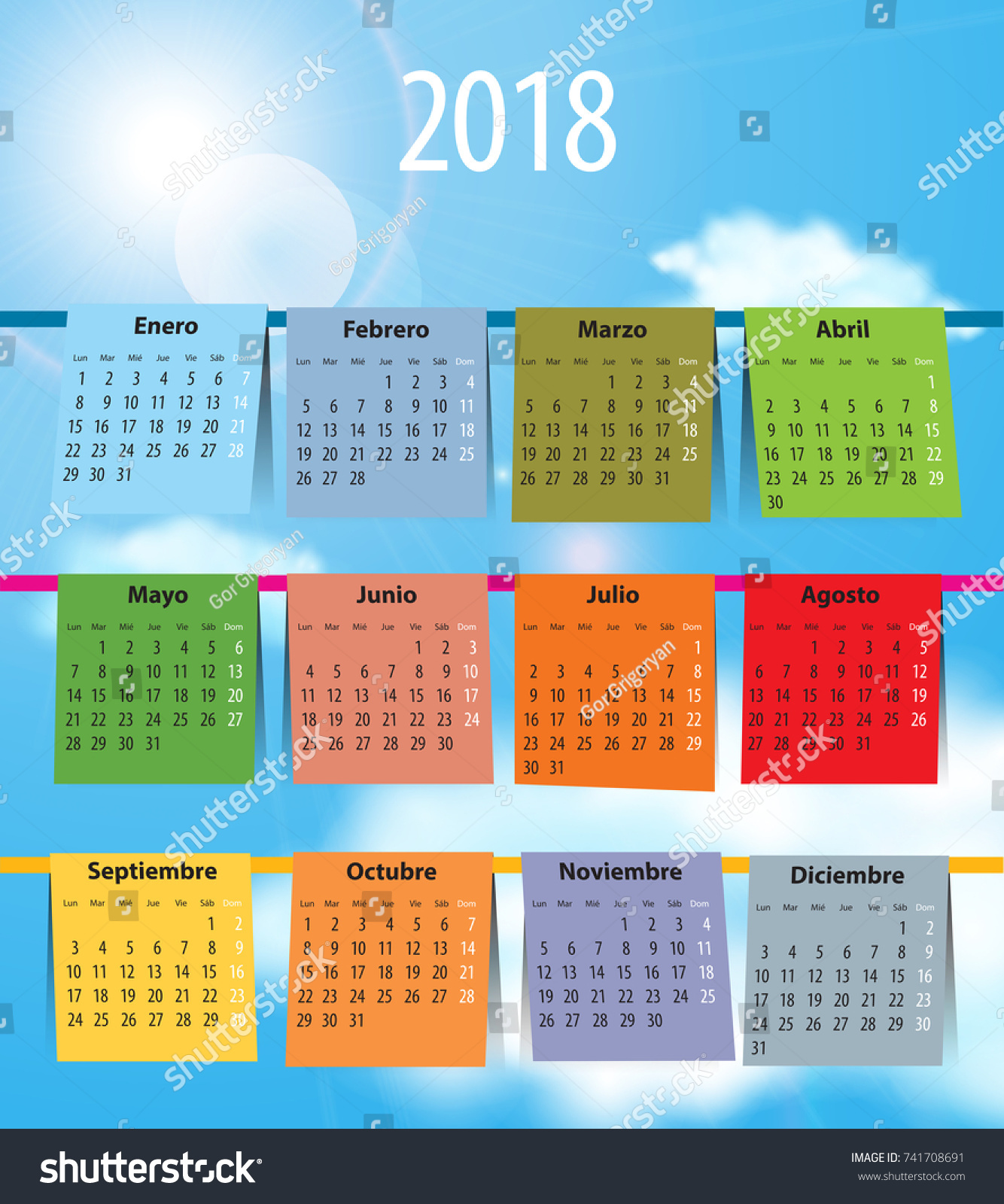 spanish calendar 2018 like laundry on stock vector 741708691 shutterstock. Black Bedroom Furniture Sets. Home Design Ideas