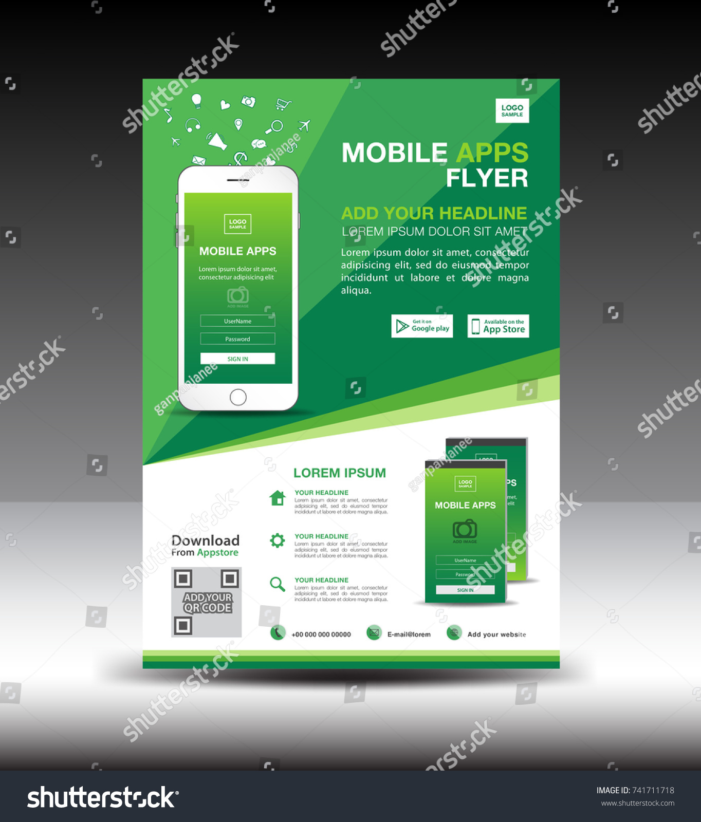 mobile apps flyer template business brochure stock vector royalty
