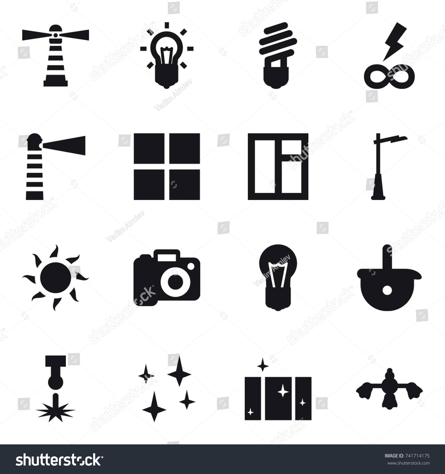 16 Vector Icon Set Lighthouse Bulb Stock Vector 741714175 - Shutterstock for Power Window Symbol  555kxo