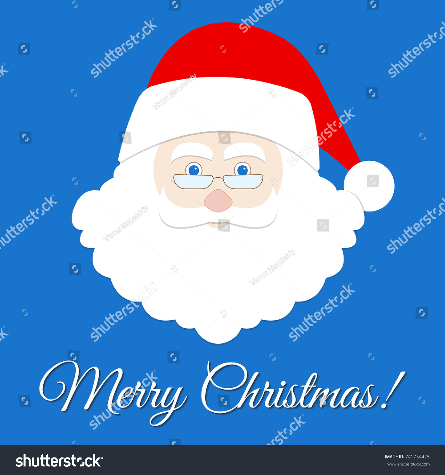 Santa Claus Face Icon Merry Christmas Stock Illustration 741734425
