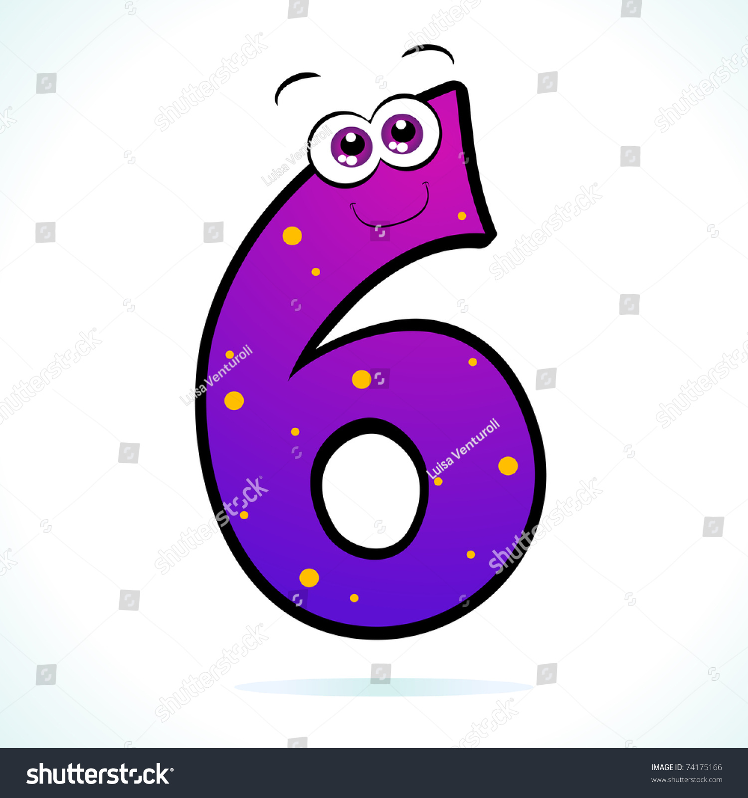 Number Six Represented Cartoon Style Vector Stock Vector Royalty Free 74175166
