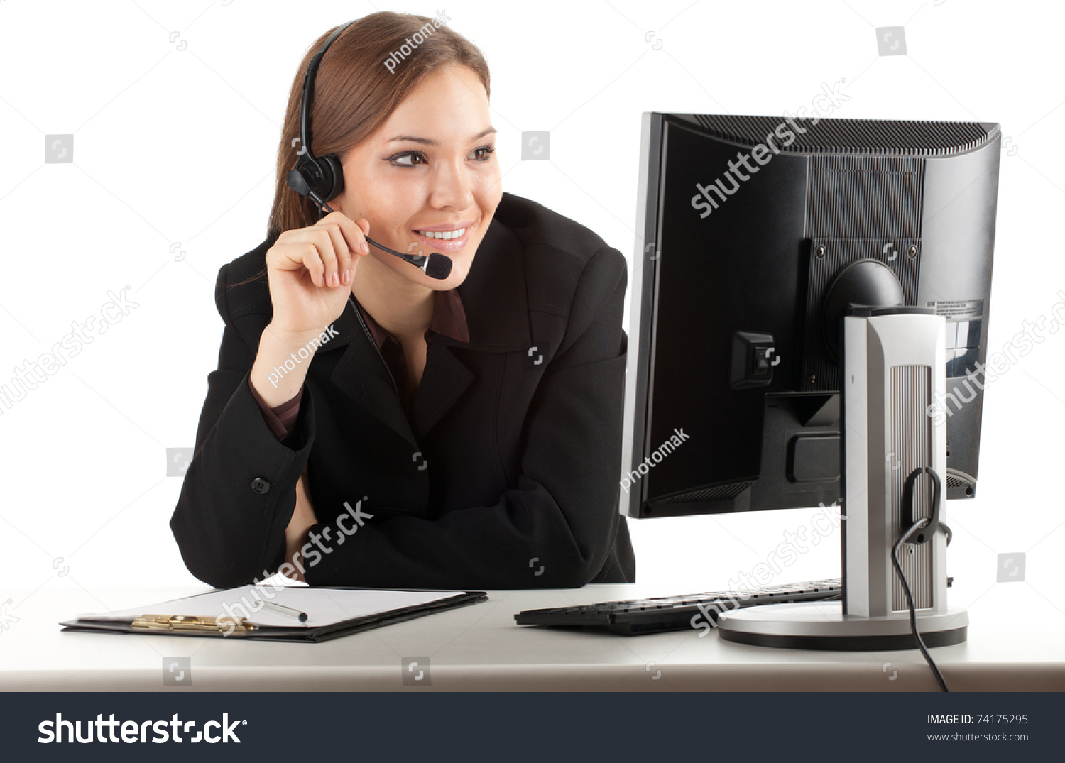 happy young customer service operator girl stock photo  happy young customer service operator girl wearing headset working on computer smiling