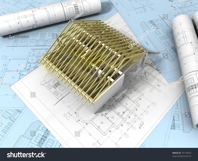 3d Plan Drawing Stock Photo 74175874 Shutterstock