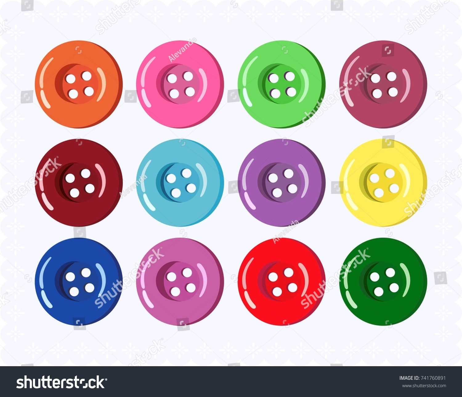 Vector collection of buttons for clothes, art and crafts in various bright colors. Fashion and needlework. #741760891
