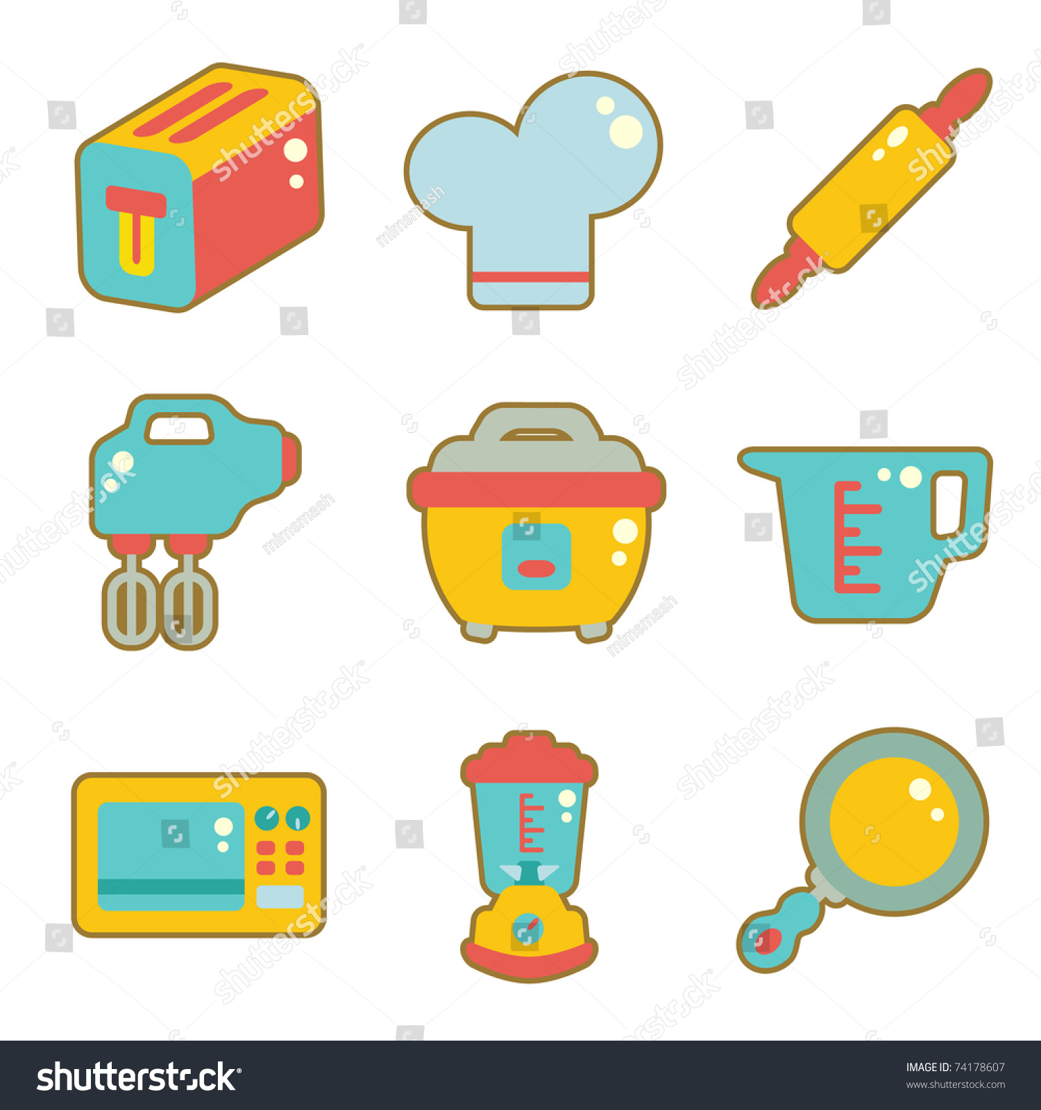 Uncategorized Cute Kitchen Appliances cute icon set kitchen appliances stock vector 74178607 shutterstock appliances