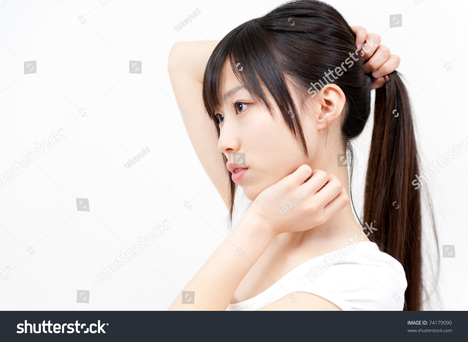 Beautiful Asian Woman Ponytail Hair Style Stock Photo Edit Now