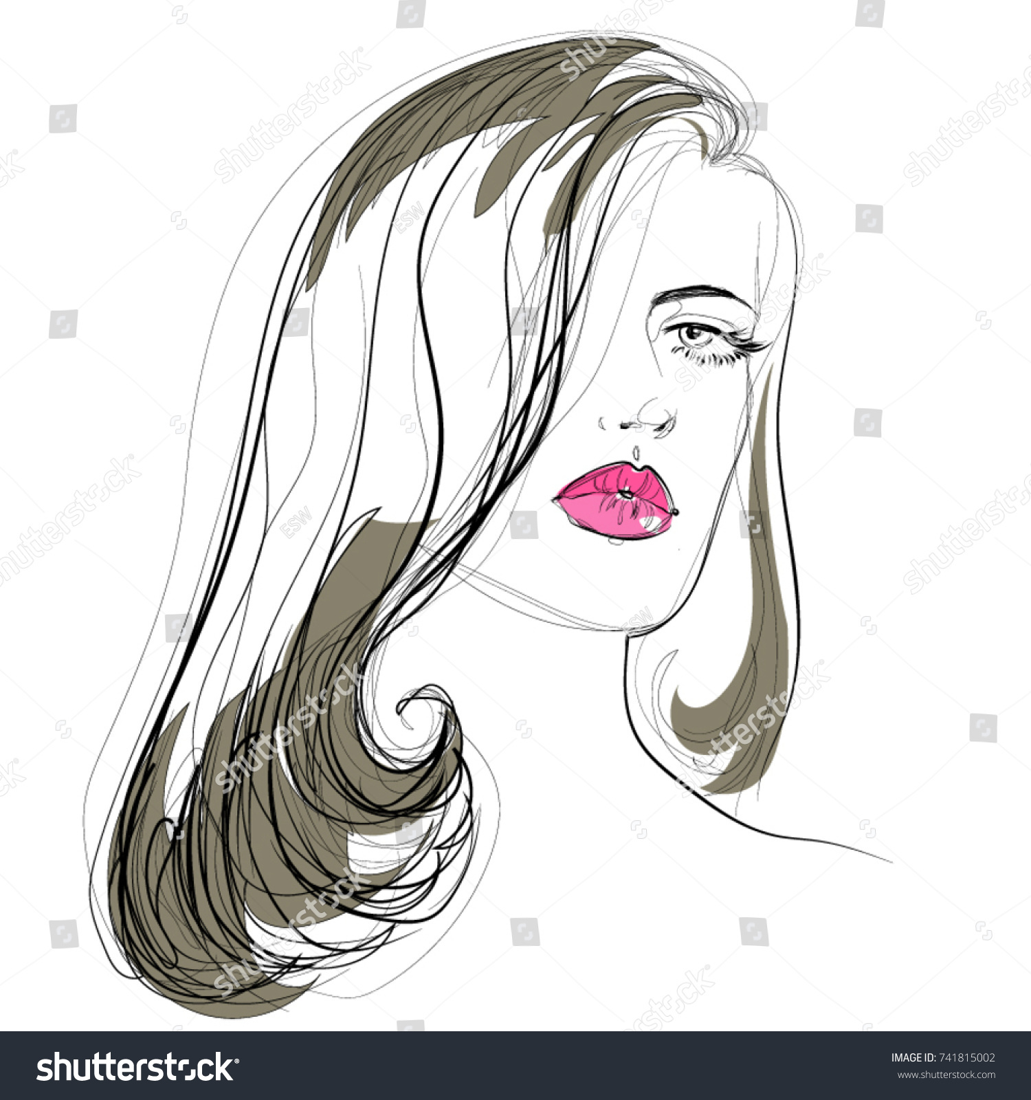 Beautiful Woman Vector Drawing Hairstyle Makeup And Beauty Icon Straight Hair Pink Lips