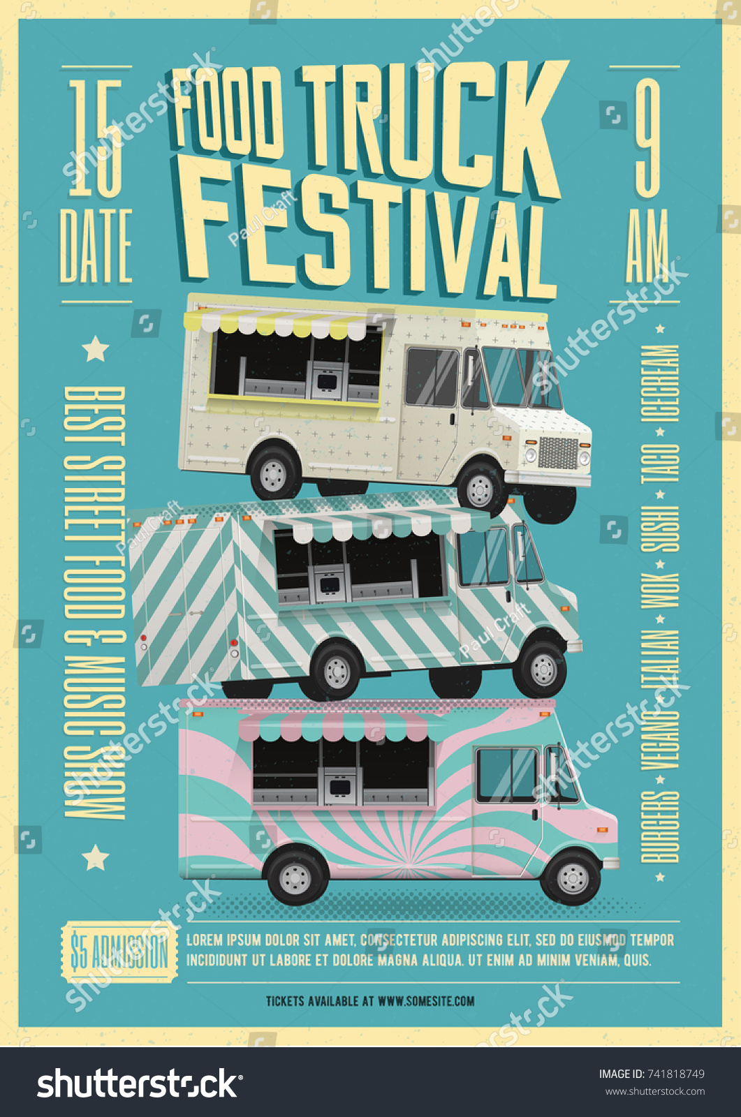 Food Truck Festival Poster Flyer Template Vectores En Stock ...