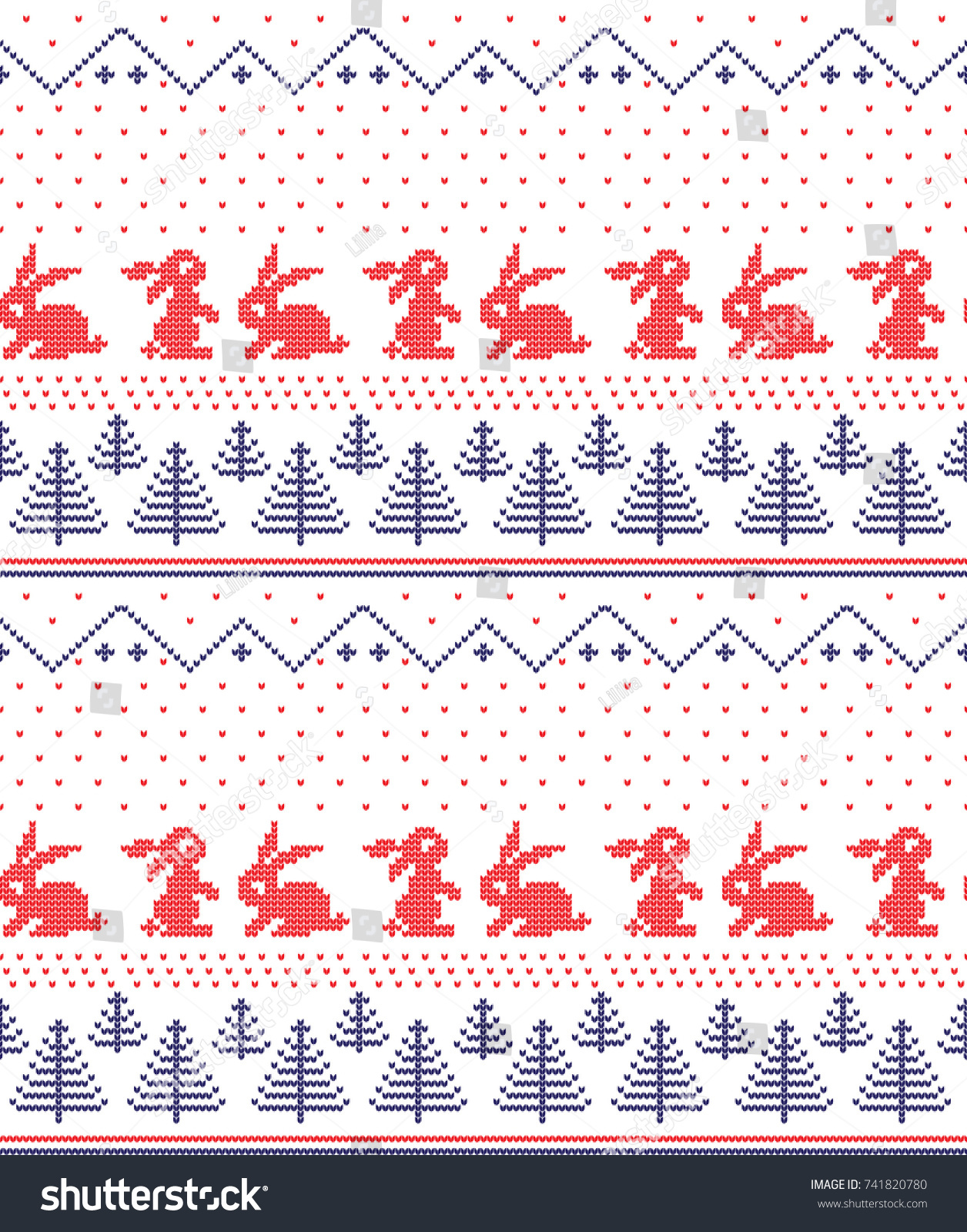 Winter Holiday Knitting Pattern Christmas Trees Stock Vector ...