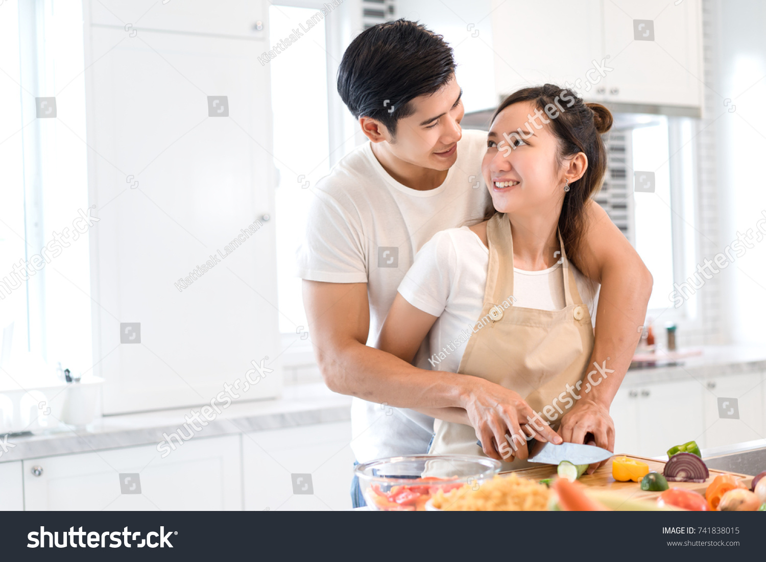 Couple Cooking Food Kitchen Room Young Stock Photo & Image (Royalty ...