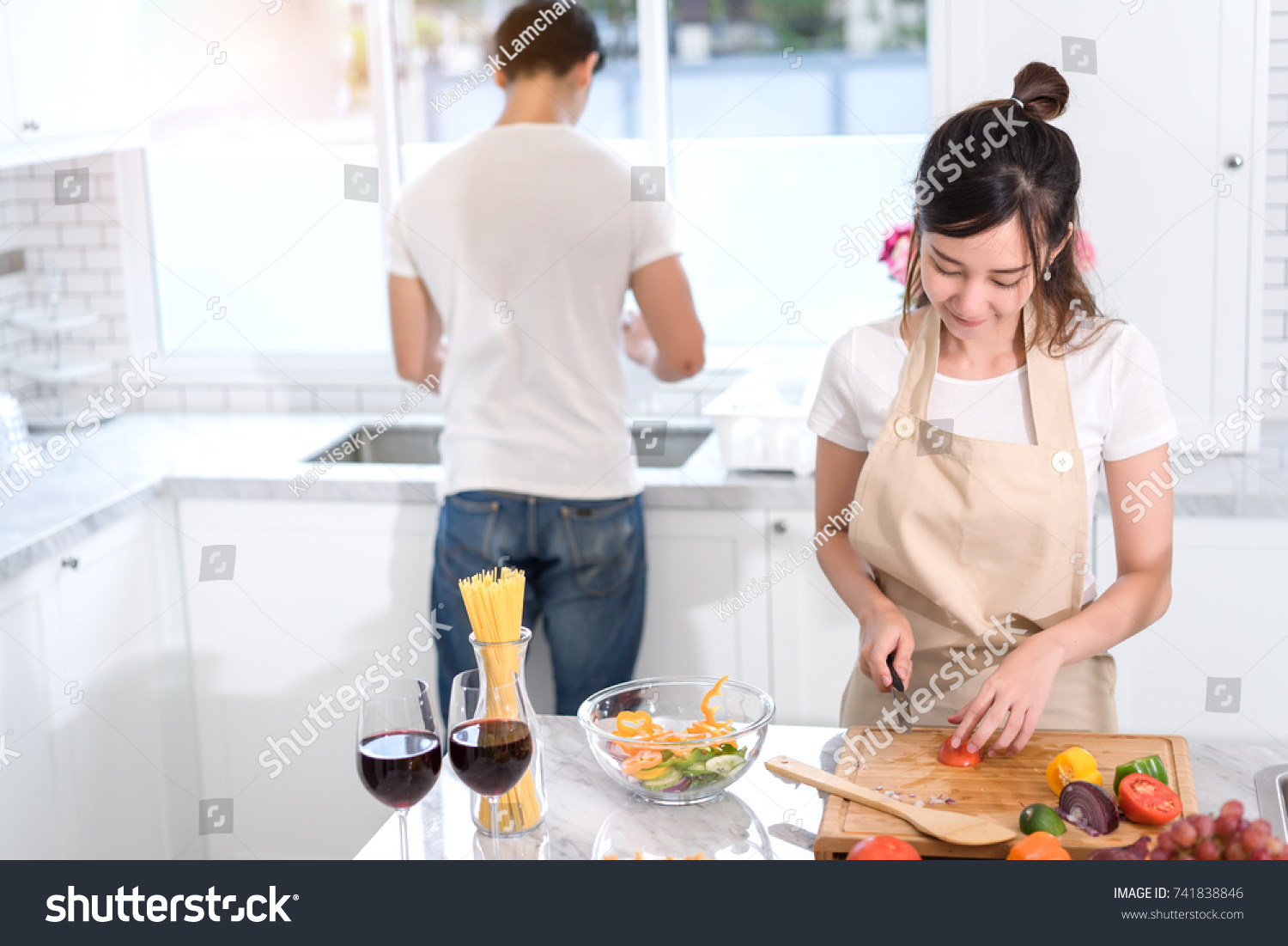 Couple Cooking Food Kitchen Room Young Stock Photo (Royalty Free ...