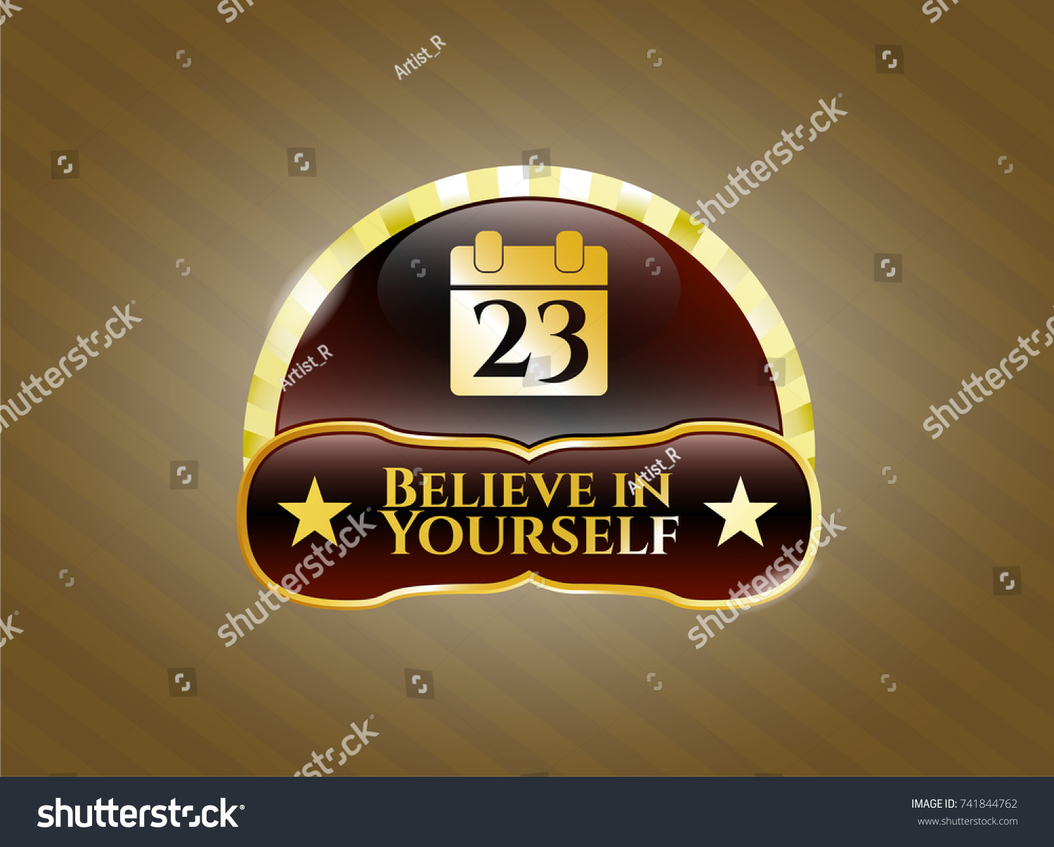 Gold badge calendar icon believe yourself stock vector 741844762 gold badge with calendar icon and believe in yourself text inside biocorpaavc Choice Image