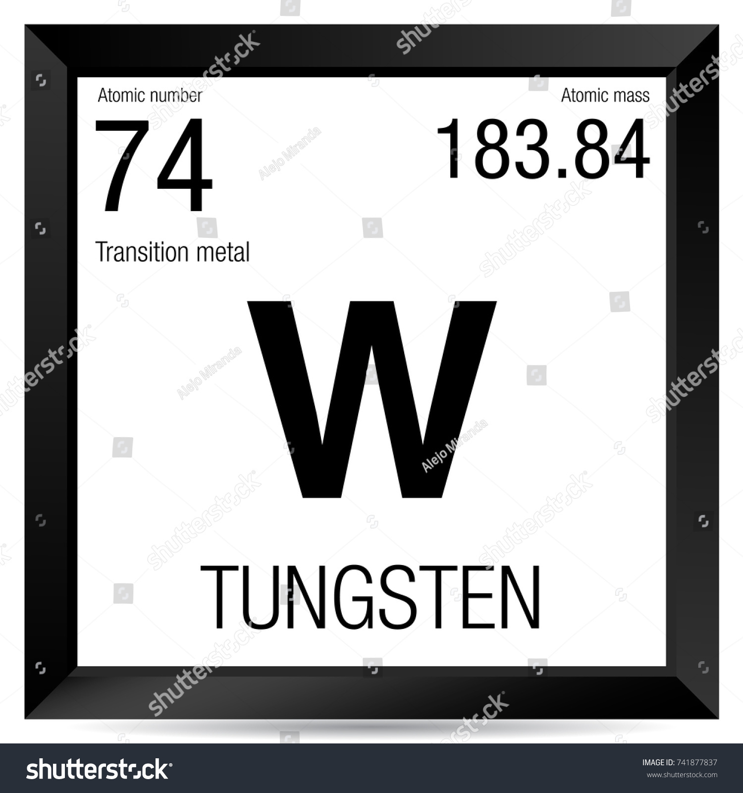 Tungsten Symbol Element Number 74 Periodic Stock Vector Royalty