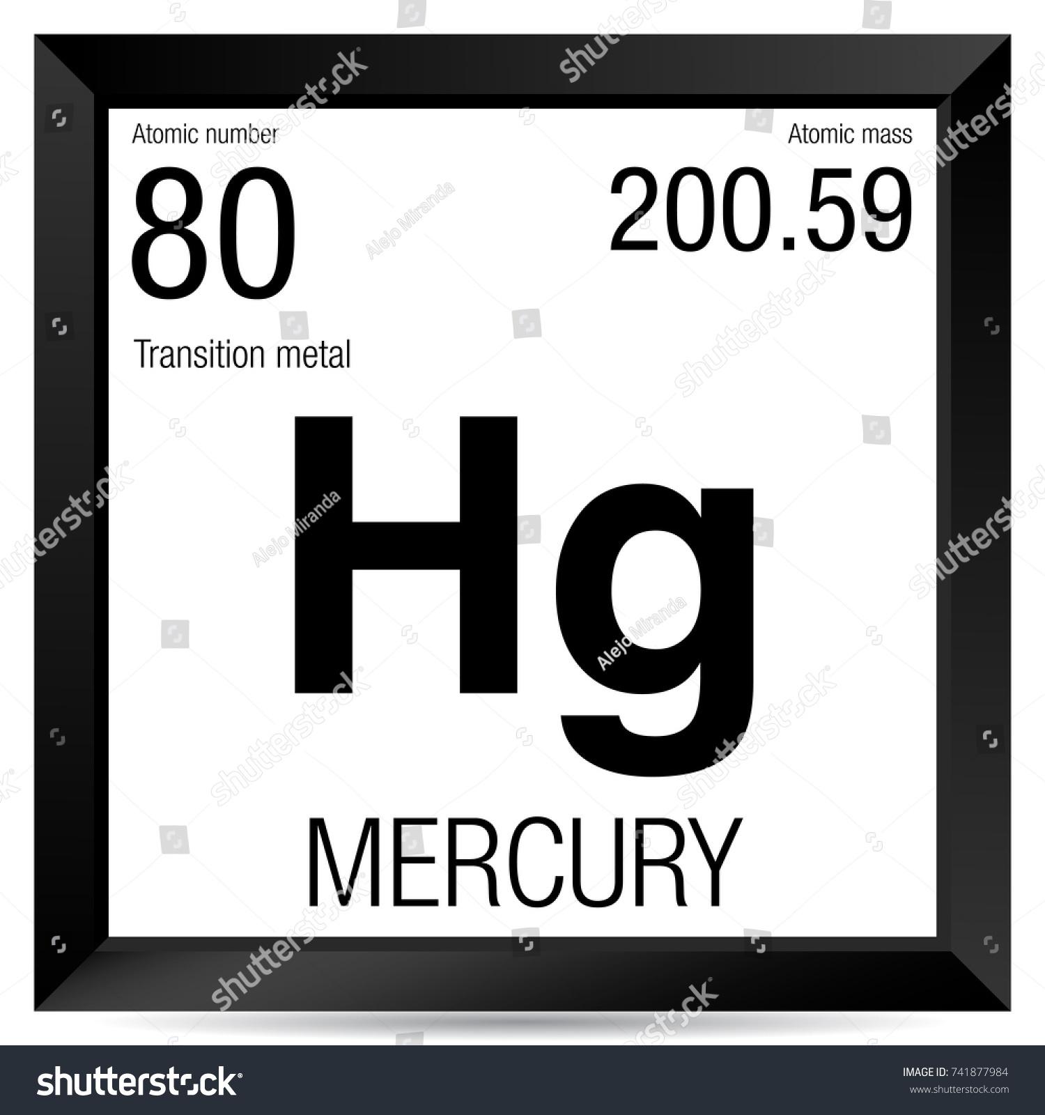 Mercury Symbol Element Number 80 Periodic Stock Vector Royalty Free