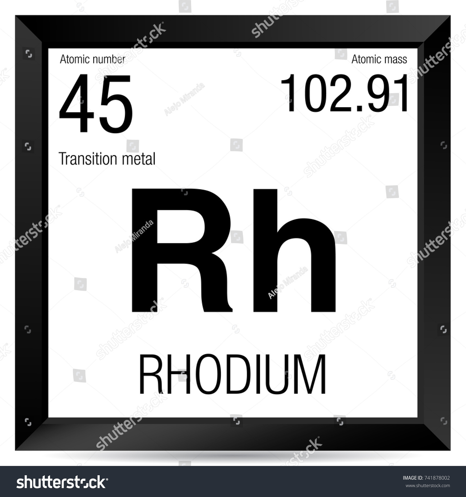 Rhodium Symbol Element Number 45 Periodic Stock Vector Royalty Free