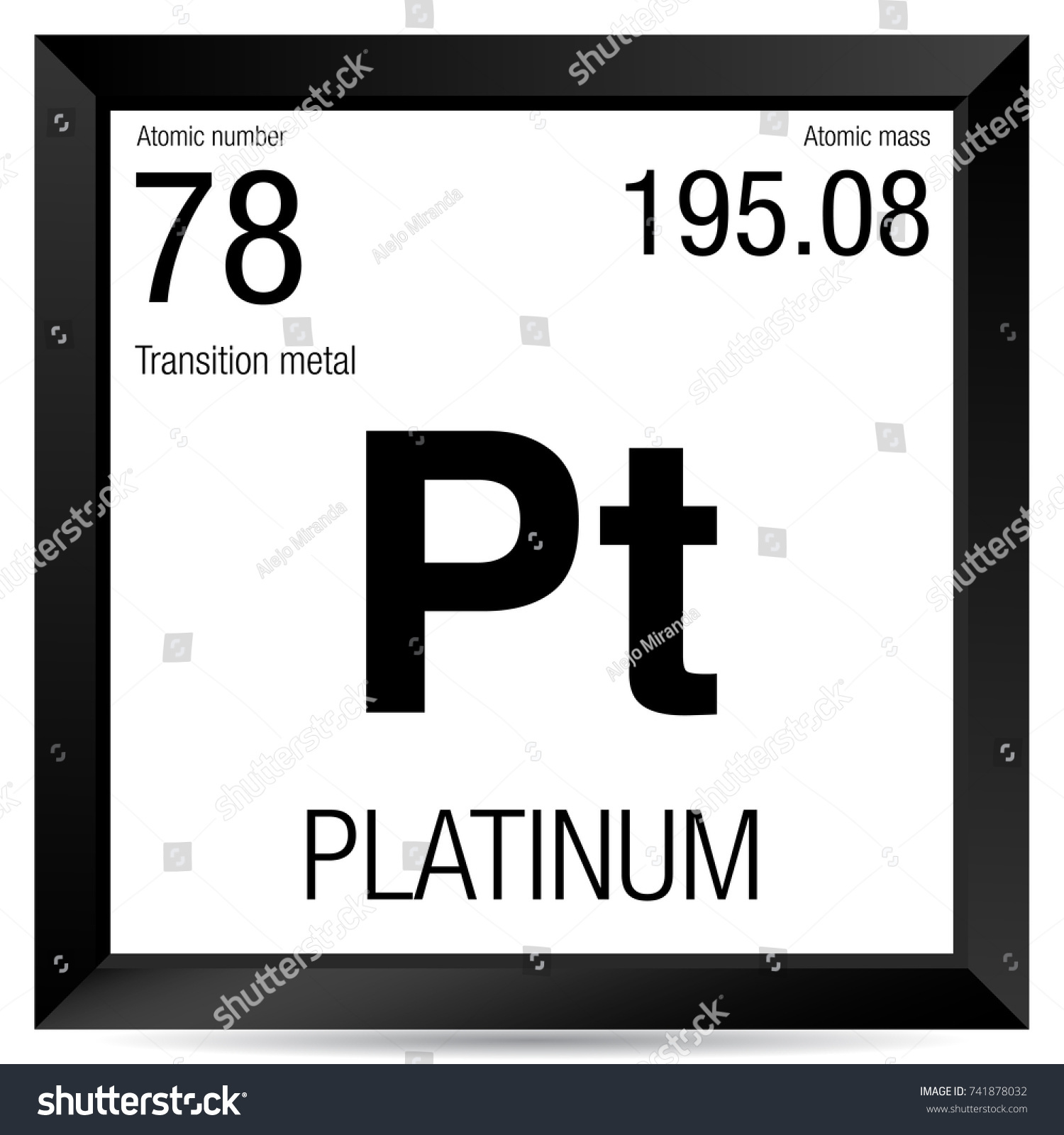 Platinum Symbol Element Number 78 Periodic Stock Vector Royalty